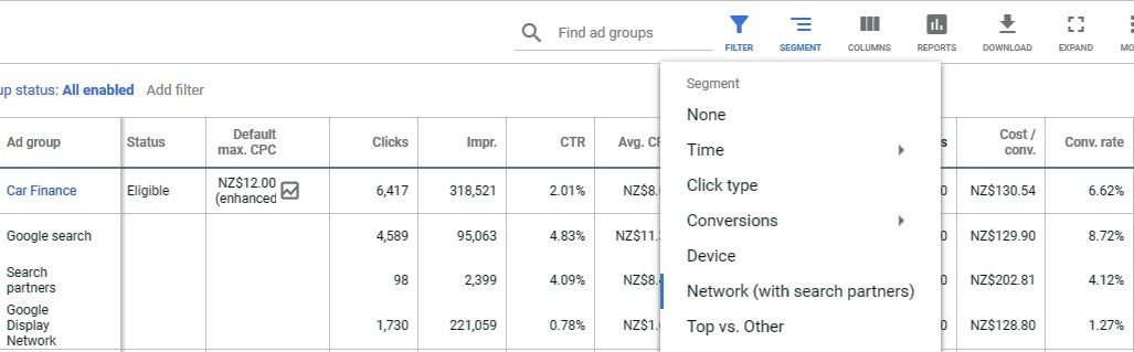 segmentation of search partners